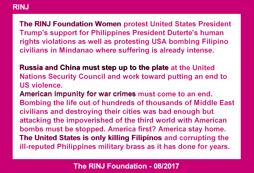 America must stop the bombing of Filipinos and stop supporting Human Rights Violations