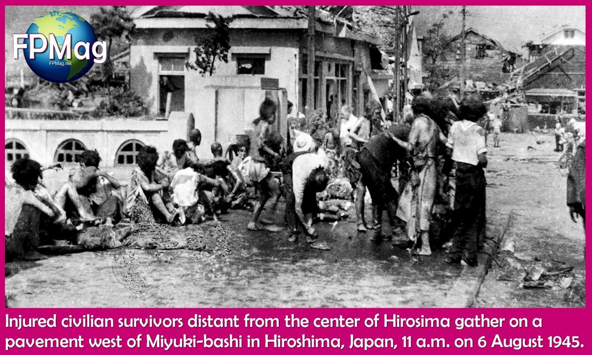 Injured civilian survivors distant from the center of Hiroshima gather on a pavement west of Miyuki-bashi in Hiroshima, Japan, 11 a.m. on 6 August 1945.