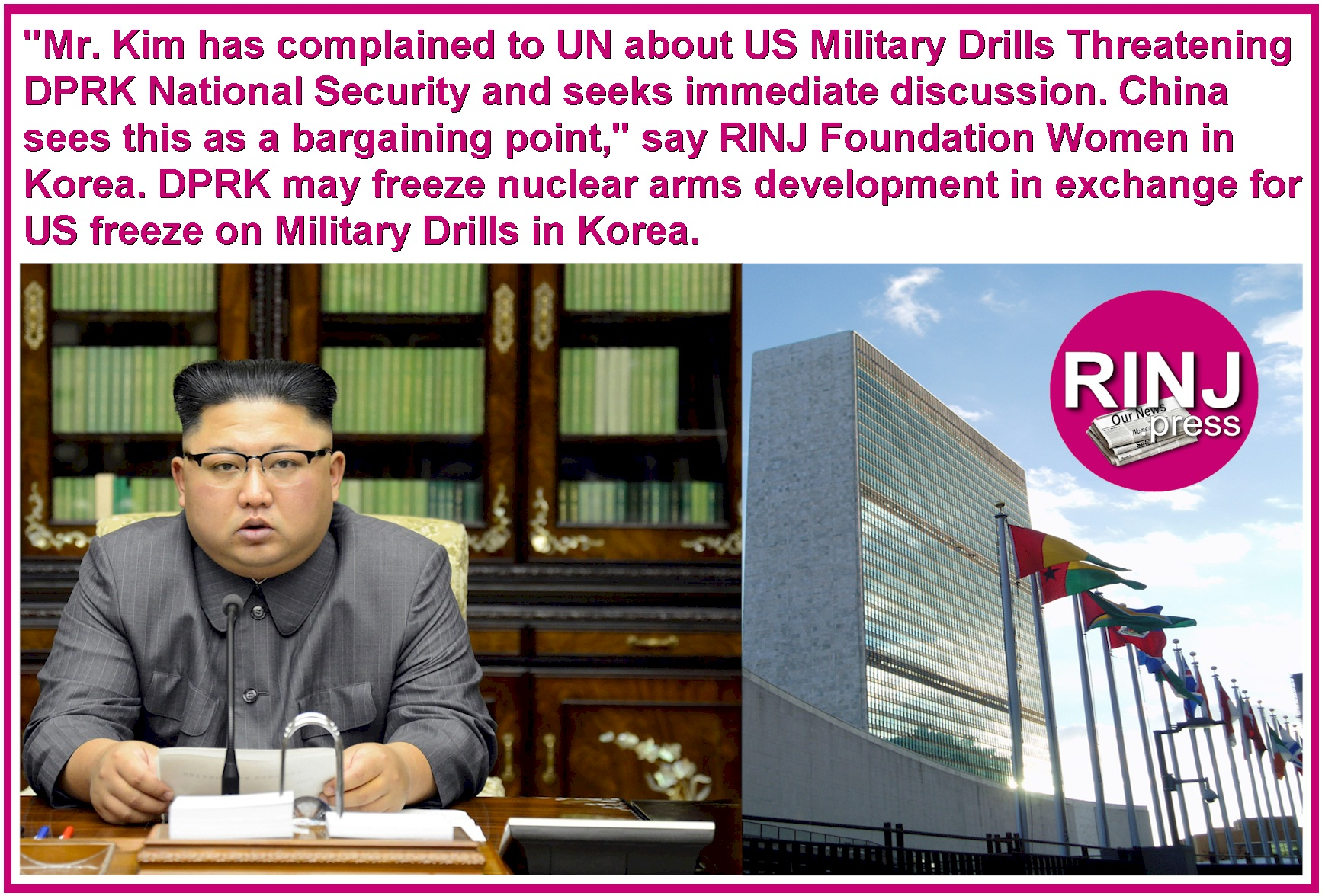 Possible truce wirh Mr. Kim of DPRK.
