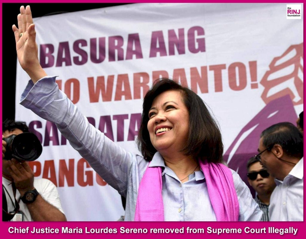 Philippines Supreme Court Chief Justice removed when Duterte Declared her an enemy