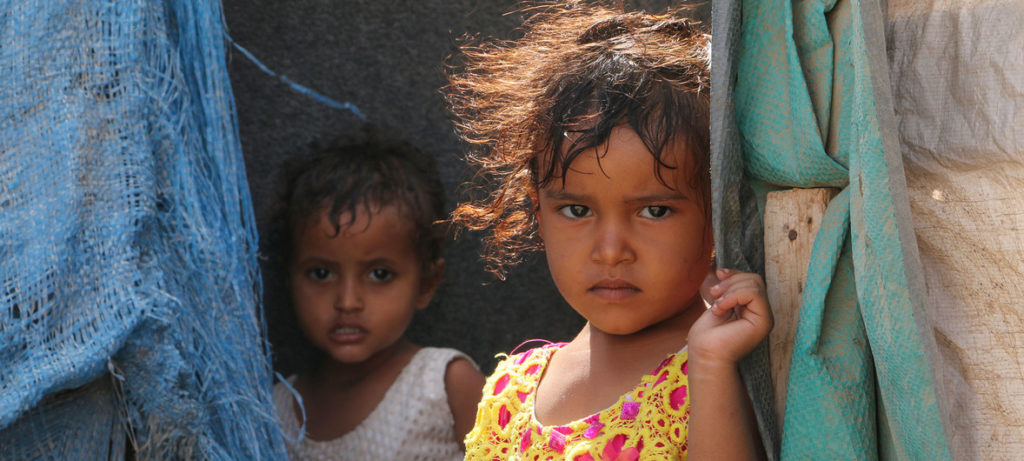 On 15 March 2018 in Aden City, Yemen, children are displaced from the city of Taiz because of the conflict.