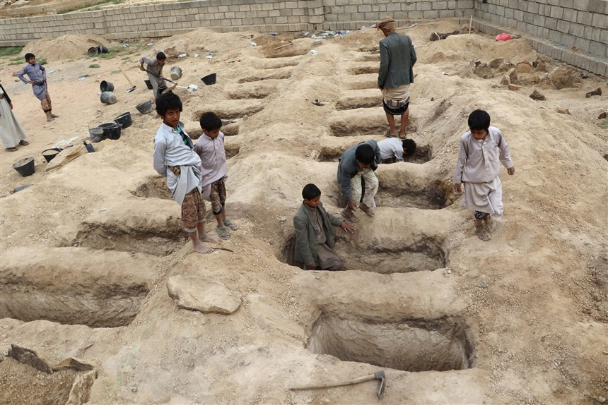 Graves for school children bombed by Saudi Arabia Air Force