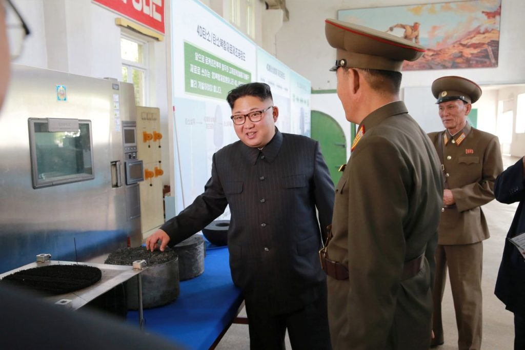 Kim Jong-un at a chemical institute in Pyongyang Photo credit: Korean Central News Agency Of Dprk(Democratic People's Republic Of Korea).