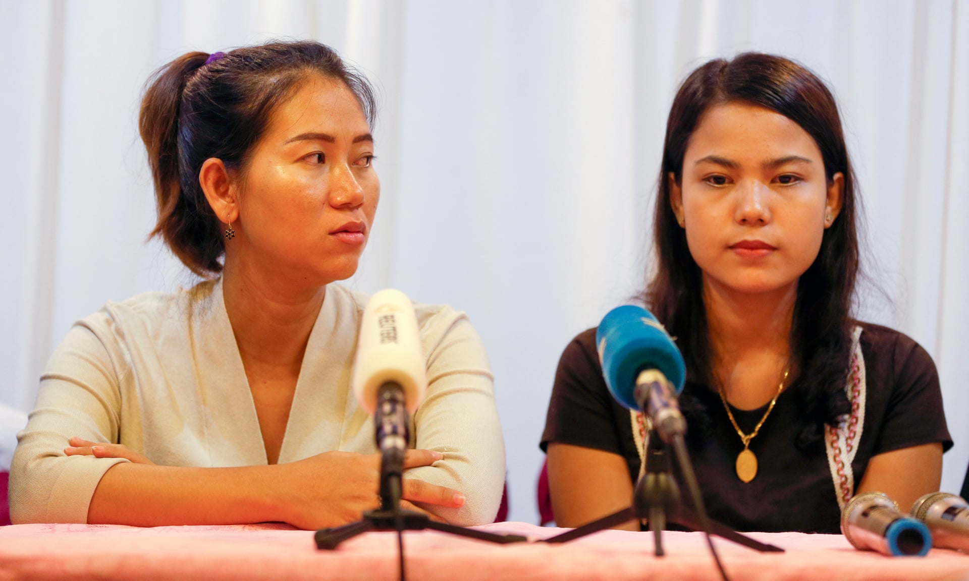 Pan Ei Mon (left) and Chit Su Win speak at a press conference in Yangon, Myanmar. Photograph: Lynn Bo Bo/EPA