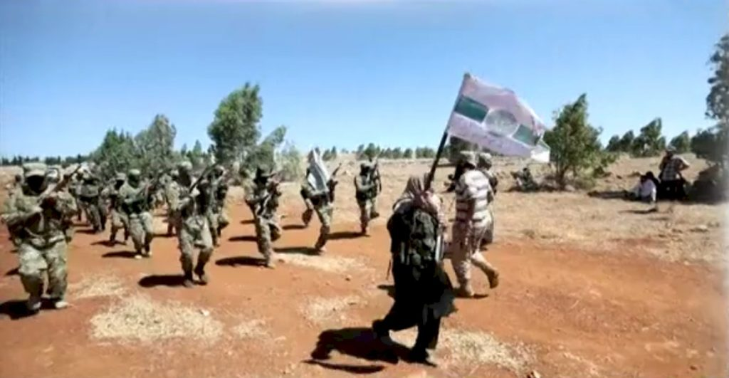 Mercenaries and Jihadists training in Idlib Governorate - Photo Credit: Feminine Perspective Screen Capture, Syrian TV