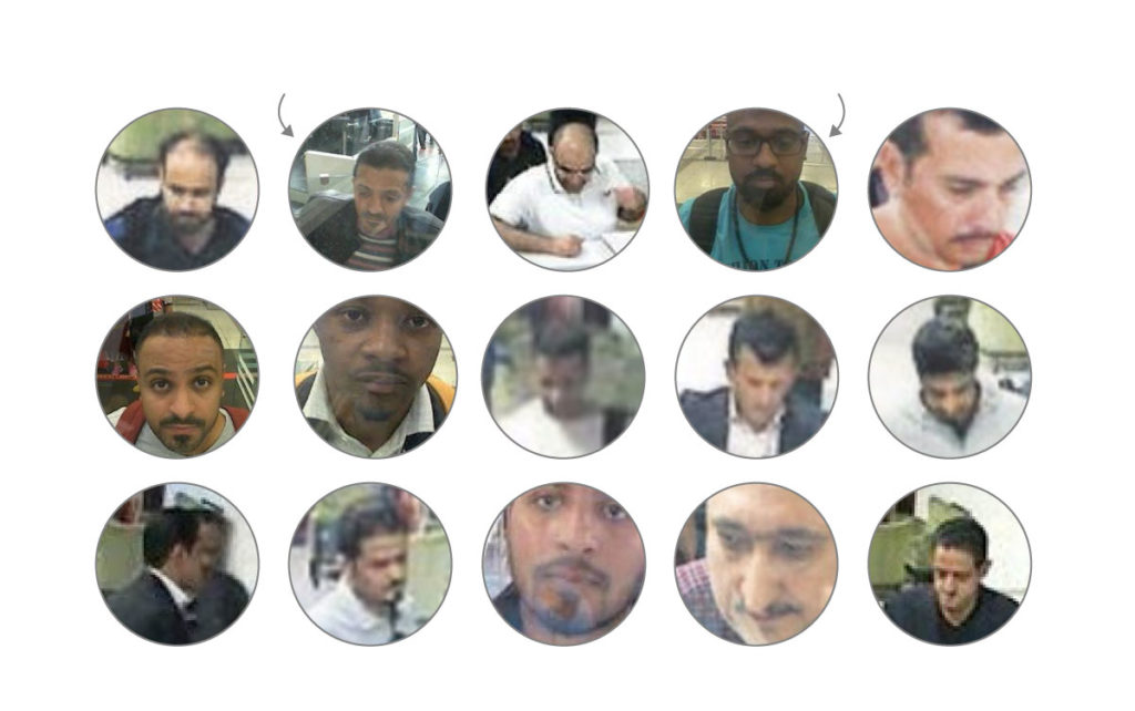 Turkish media outlet Sabah published images of 15 men that turkish officials have identified as Saudi operatives who flew to Istanbul and were captured on CCTV