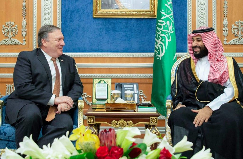 Saudi Arabia's Crown Prince Muhammad Bin Salman meets with US Secretary of State Mike Pompeo in Riyadh