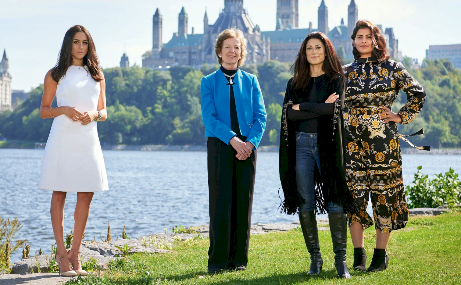 Meghan Markle appeared in the April issue of Vanity Fair along with Saudi activist Loujain al-Hathloul at the One Young World Summit in Ottawa in October 2016 CREDIT: Vanity Fair / JASON SCHMIDT