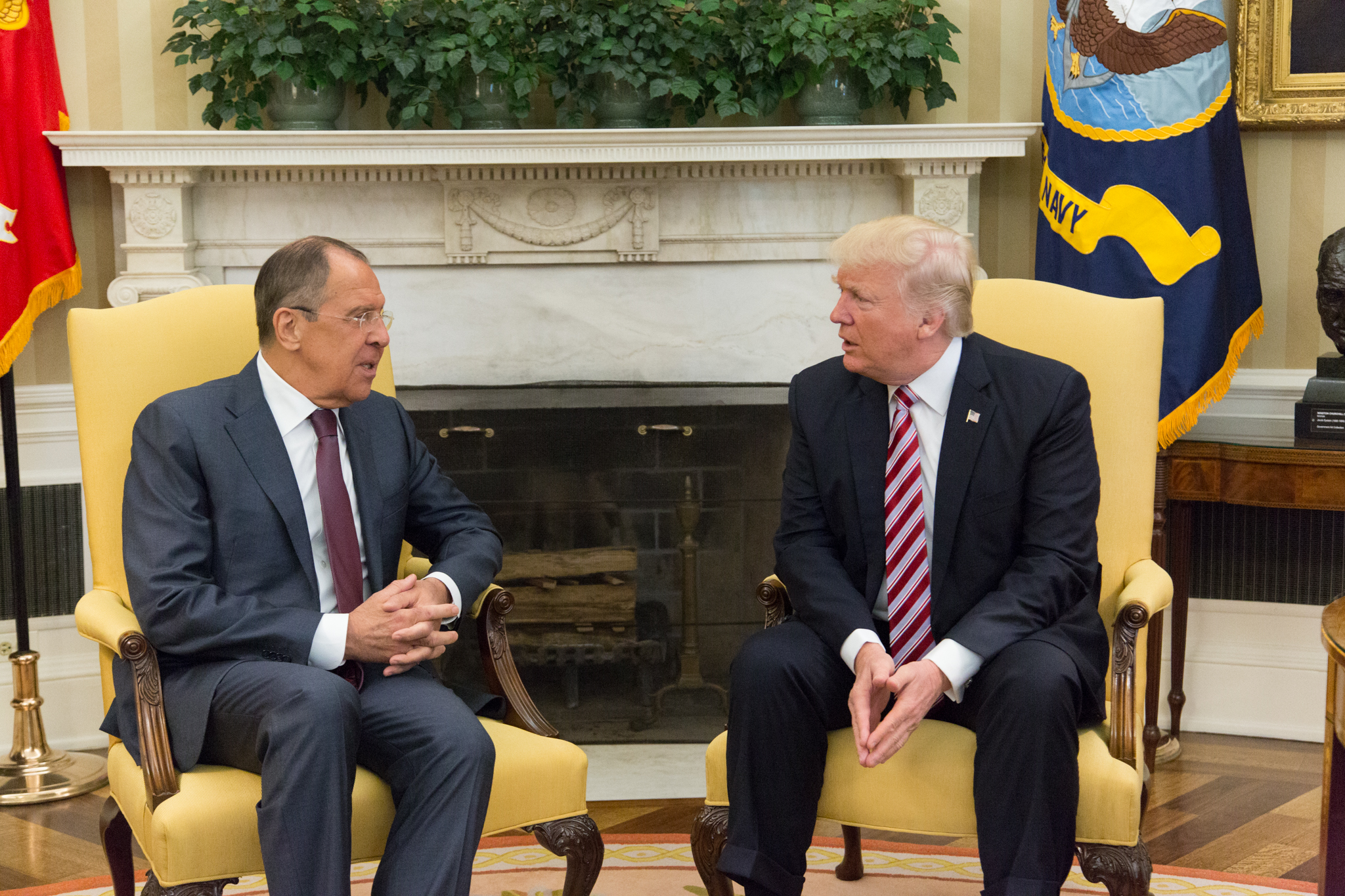 President Donald Trump speaks with Russian Foreign Minister Sergey Lavrov in the Oval Office, Wednesday, May 10, 2017, at the White House in Washington, D.C.