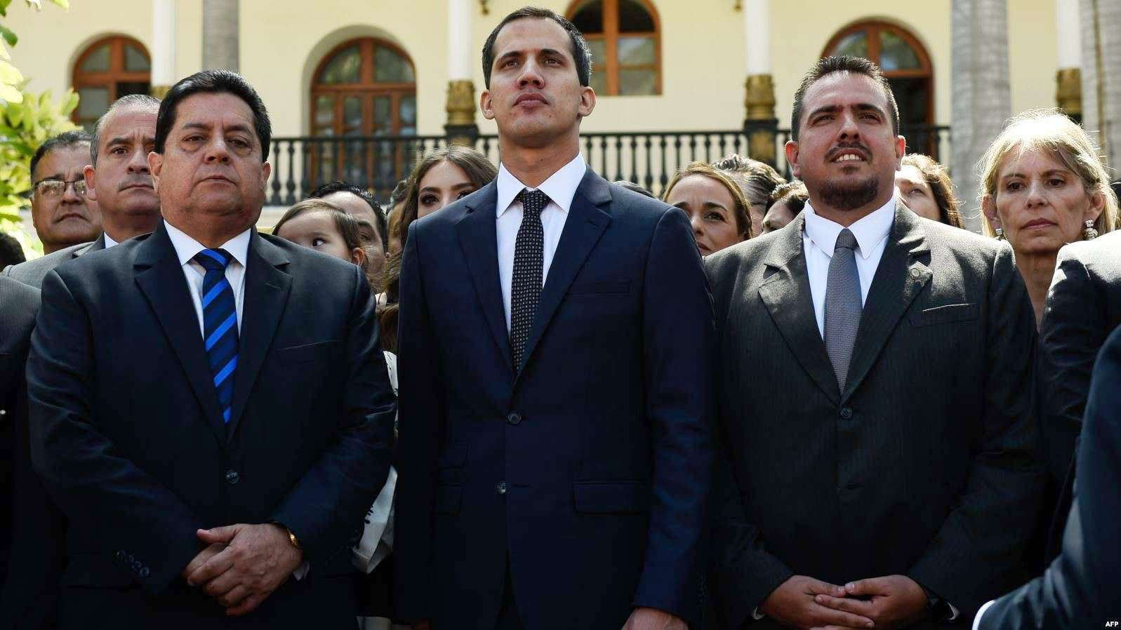 Juan Gerardo Guaidó Márquez (center) is a Venezuelan engineer and politician serving as the President of the National Assembly of Venezuela since 5 January 2019. A member of the centrist social-democratic Popular Will party, he also serves as a federal deputy representing the state of Vargas.