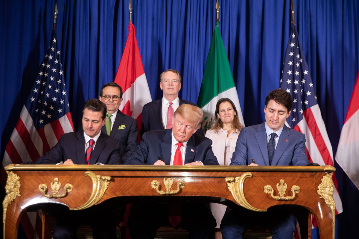 President Donald J. Trump is joined by Mexican President Enrique Pena Nieto and Canadian Prime Minister Justin Trudeau at the USMCA signing ceremony Friday, Nov. 30, 2018, in Buenos Aires, Argentina. Photo Credit: Official White House Photo by Shealah Craighead