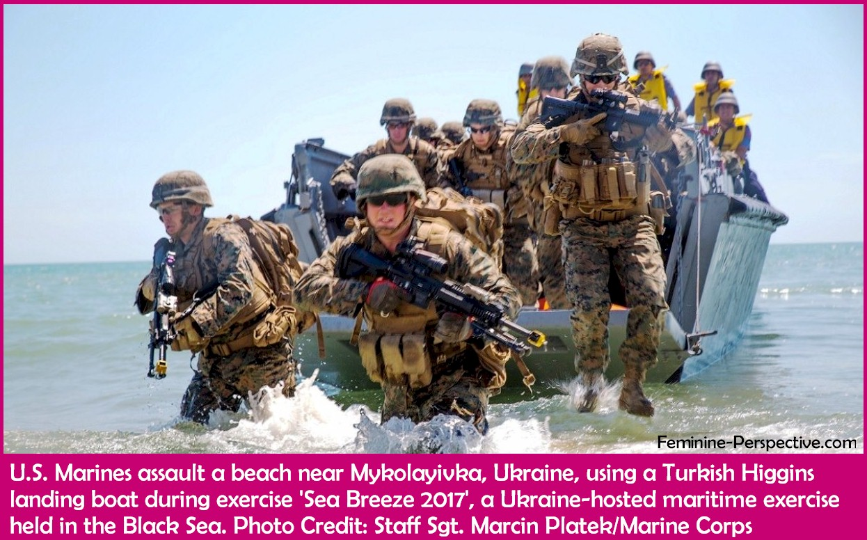 U.S. Marines assault a beach near Mykolayivka, Ukraine, using a Turkish Higgins landing boat during exercise Sea Breeze 2017, a Ukraine-hosted maritime exercise held in the Black Sea.