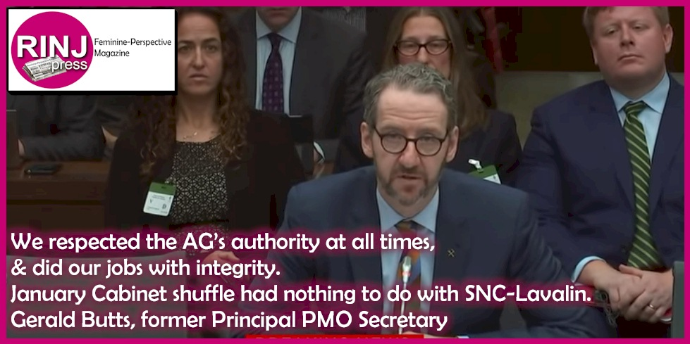 We respected the AG's authority at all times, & did our jobs with integrity. January Cabinet shuffle had nothing to do with SNC-Lavalin. Gerald Butts, former Principal PMO Secretary Photo Credit: Youtube Video Frame Capture
