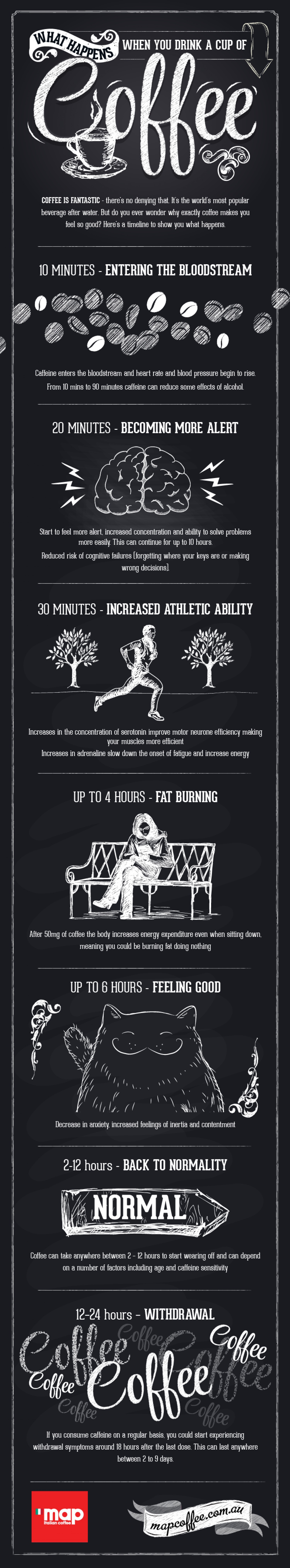A novel explanation of what happens when you drink a cup of coffee. Photo Credit: MapCoffee.com.au