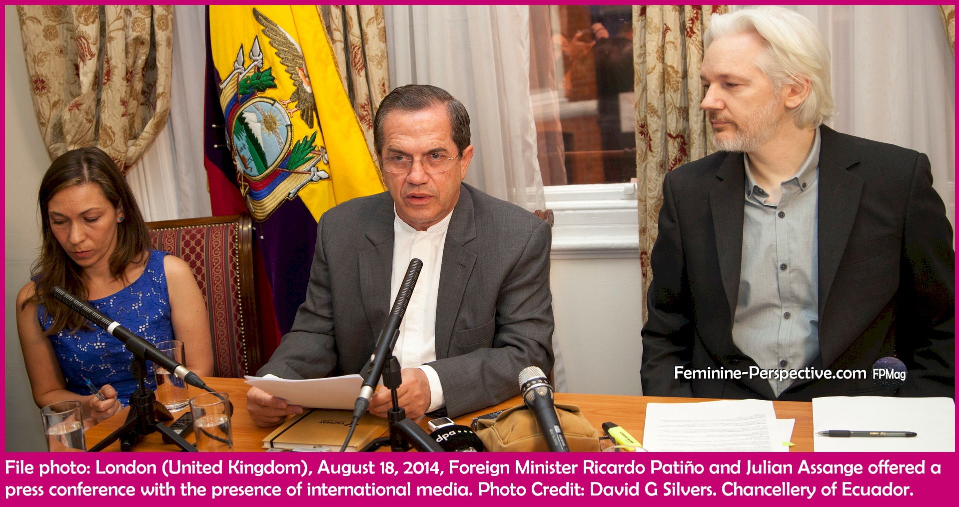 File photo: London (United Kingdom), August 18, 2014, Foreign Minister Ricardo Patiño and Julian Assange offered a press conference with the presence of international media. Photo Credit: David G Silvers. Chancellery of Ecuador.