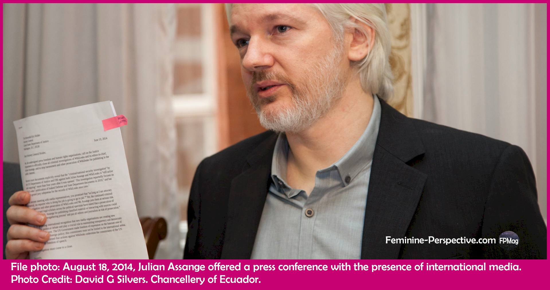 File photo: London (United Kingdom), August 18, 2014, Julian Assange offered a press conference with the presence of international media. Photo Credit: David G Silvers. Chancellery of Ecuador.