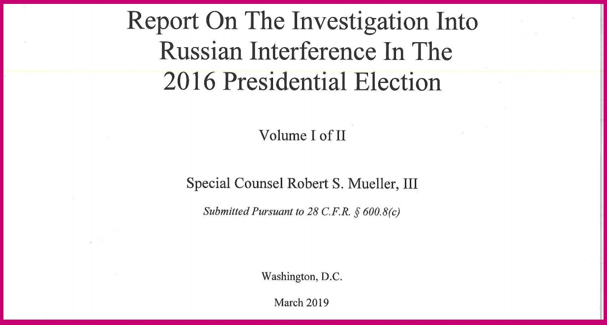Actual photograph of the report cover as redacted and released bu the US DoJ. Click to download. Photo Credit: Melissa Hemingway FPMag