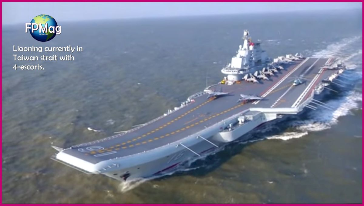 Liaoning - China aircraft carrier with 4 escorts currently traveling north through Taiwan strait.