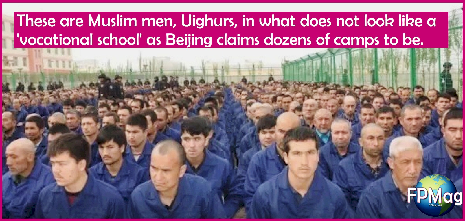 These are Muslim men, Uighurs, in what does not look like a 'vocational school' as Beijing claims dozens of camps to be.