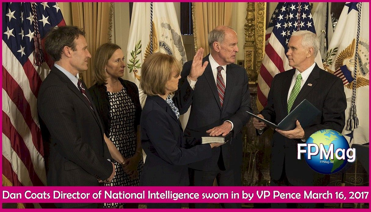 Dan Coates Director of National Intelligence sworn in by VP Pence March 16, 2017