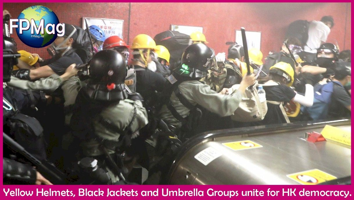 Yellow Helmets, Black Jackets and Umbrella Groups unite for HK democracy.