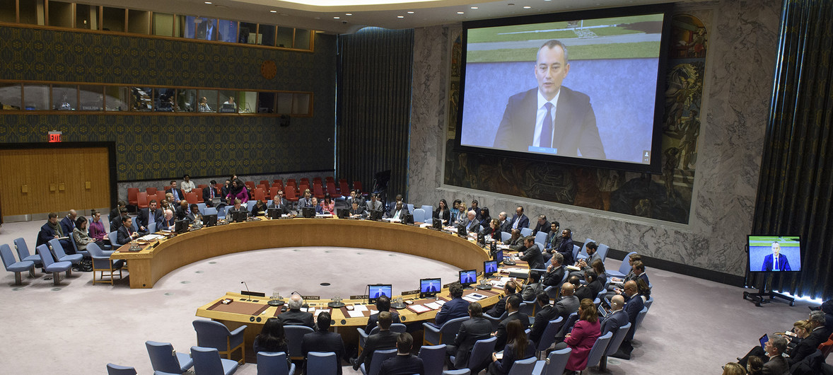 UN Photo/Loey Felipe Nickolay Mladenov (on screen), UN Special Coordinator for the Middle East Peace Process, briefs the Security Council on the situation in the Middle East, including the Palestinian question.