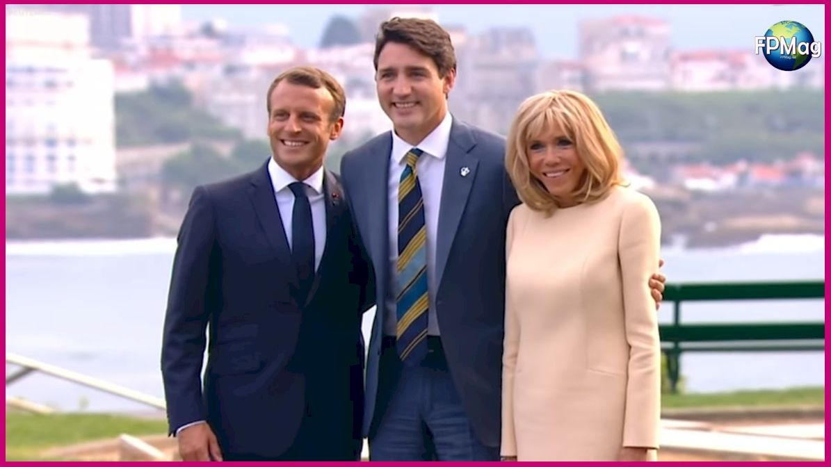 Canadian Prime Minister greeted by French Republic President Emmanuel Macron and his wife Brigitte Macron.