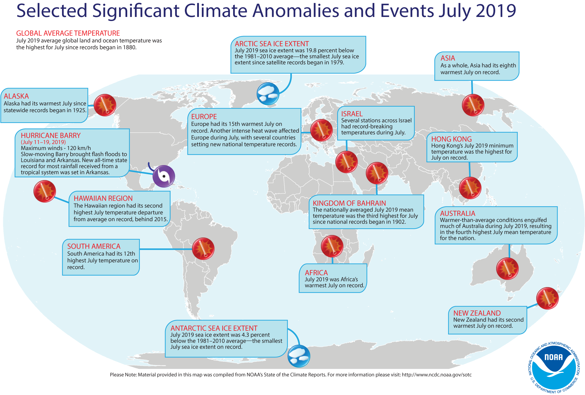 This monthly summary, developed by scientists at NOAA