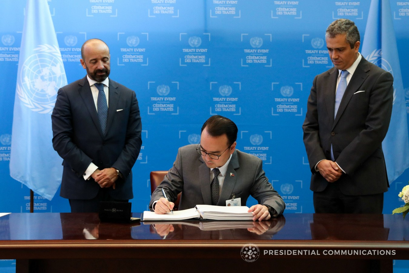The Philippines represented by Foreign Affairs Secretary Alan Peter Cayetano signs the Treaty on the Prohibition of Nuclear Weapons at the United Nations headquarters in New York on 20 September 2017.