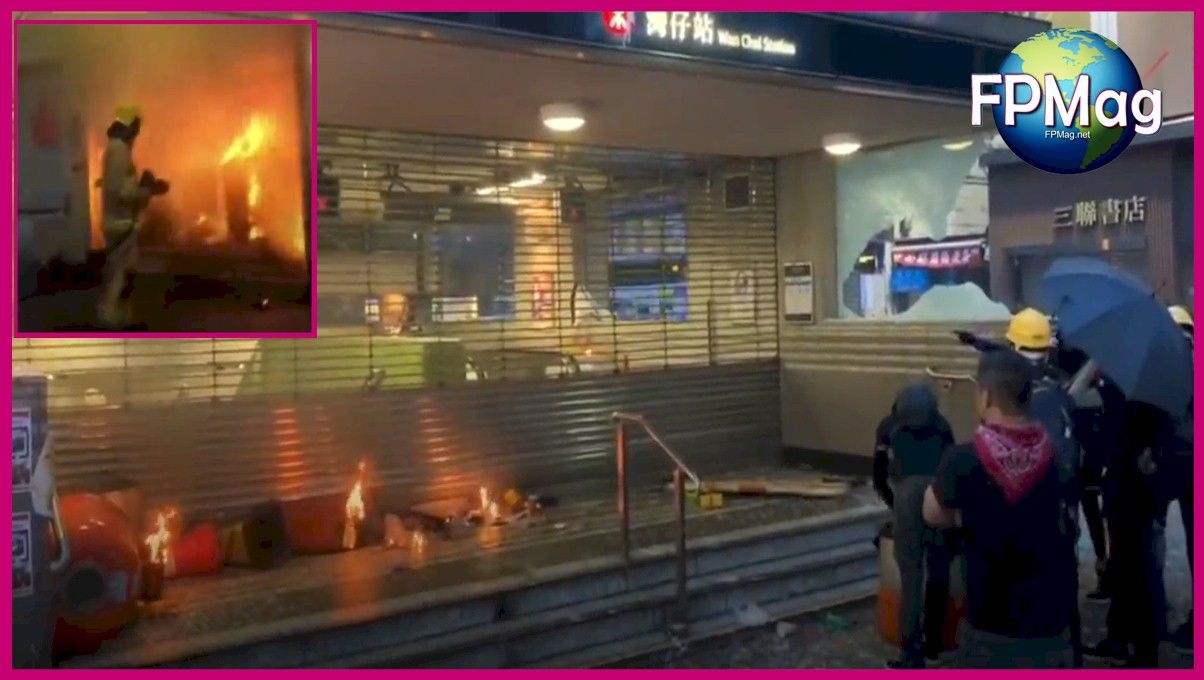 Demonstrators in Hong Kong are using fire bombs and other weapons apparently to intimidate police. Here they set fire to a train station. You can see in the inset, a firefighter trying to contain the blaze.