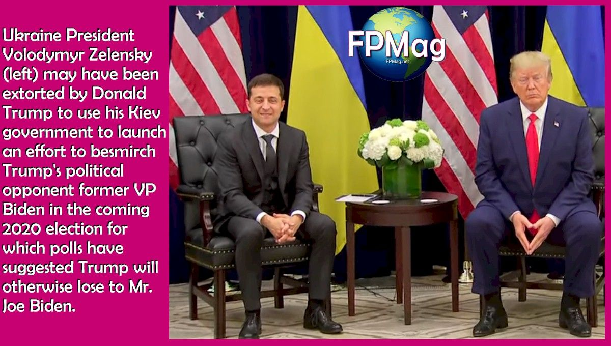 Ukraine President Volodymyr Zelensky (left) may have been extorted by Donald Trump to use his Kiev government to launch an effort to besmirch Trump's political opponent former VP Biden in the coming 2020 election for which polls have suggested Trump will otherwise lose to Mr. Joe Biden.