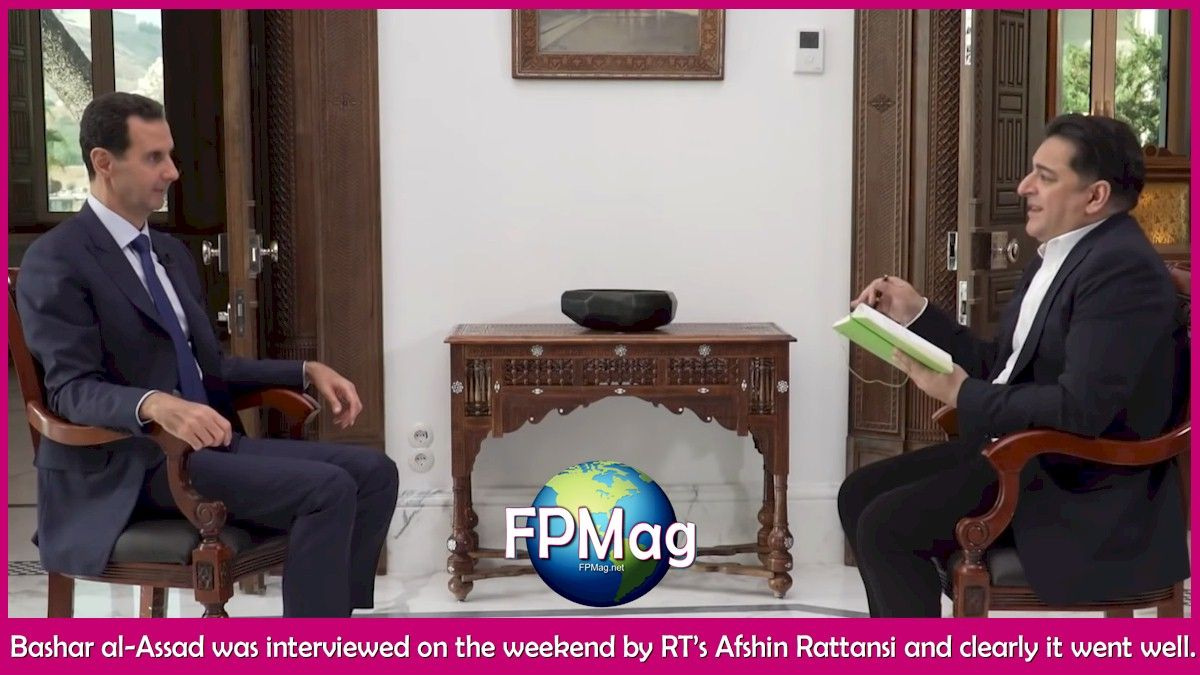 Bashar al-Assad was interviewed on the weekend by RT's Afshin Rattansi and clearly it went well.