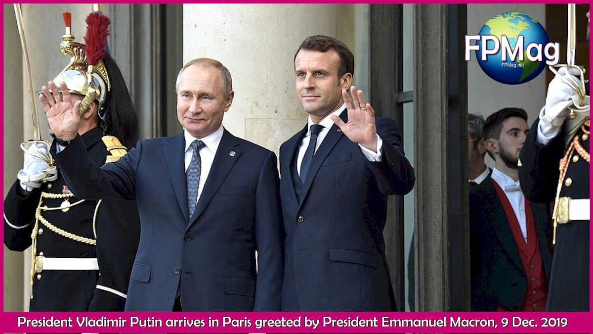 President Vladimir Putin arrives in Paris greeted by President Emmanuel Macron, 9 Dec. 2019. Ukraine and Russia achieve a step forward toward peace during Paris talks.