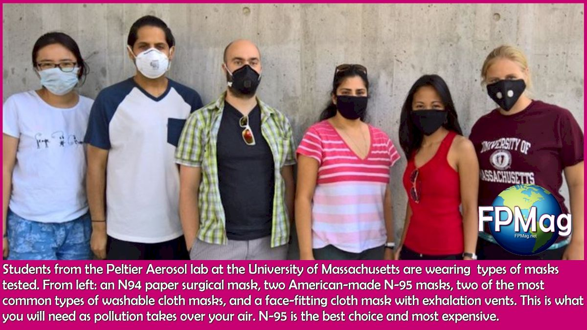 Students from the Peltier Aerosol lab at the University of Massachusetts are wearing the types of masks tested. From left: a paper surgical mask, two American-made N-95 masks, two of the most common types of washable cloth masks, and a face-fitting cloth mask with exhalation vents.