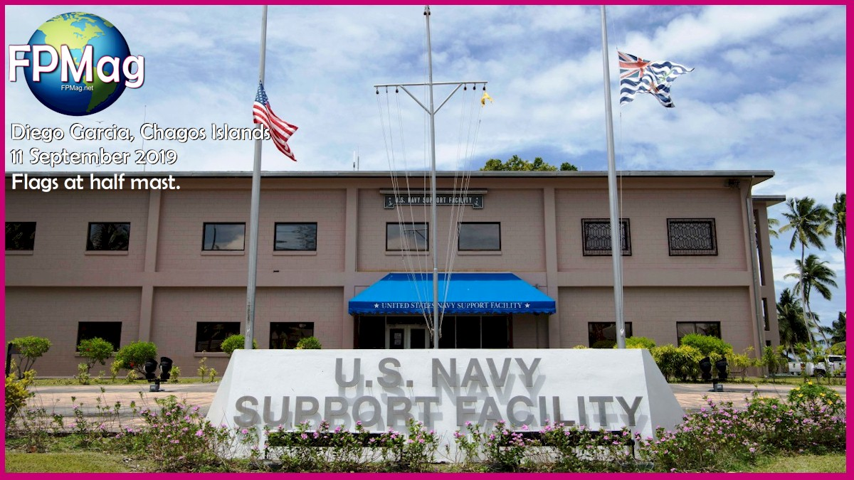 DIEGO GARCIA, British Indian Ocean Territory (Sept. 11, 2019) - U.S and British flags are flown at half-mast onboard U.S. Navy Support Facility (NSF) Diego Garcia Sept. 11. Today marked 18 years since the Sept. 11, 2001 terrorist attacks on the U.S. NSF Diego Garcia provides logistic, service, recreational and administrative support to U.S. and Allied Forces forward deployed to the Indian Ocean and Arabian Gulf. U.S. Navy photo by Mass Communication Specialist 2nd Class Charlotte C. Oliver (released) 190911-N-HV737-1047