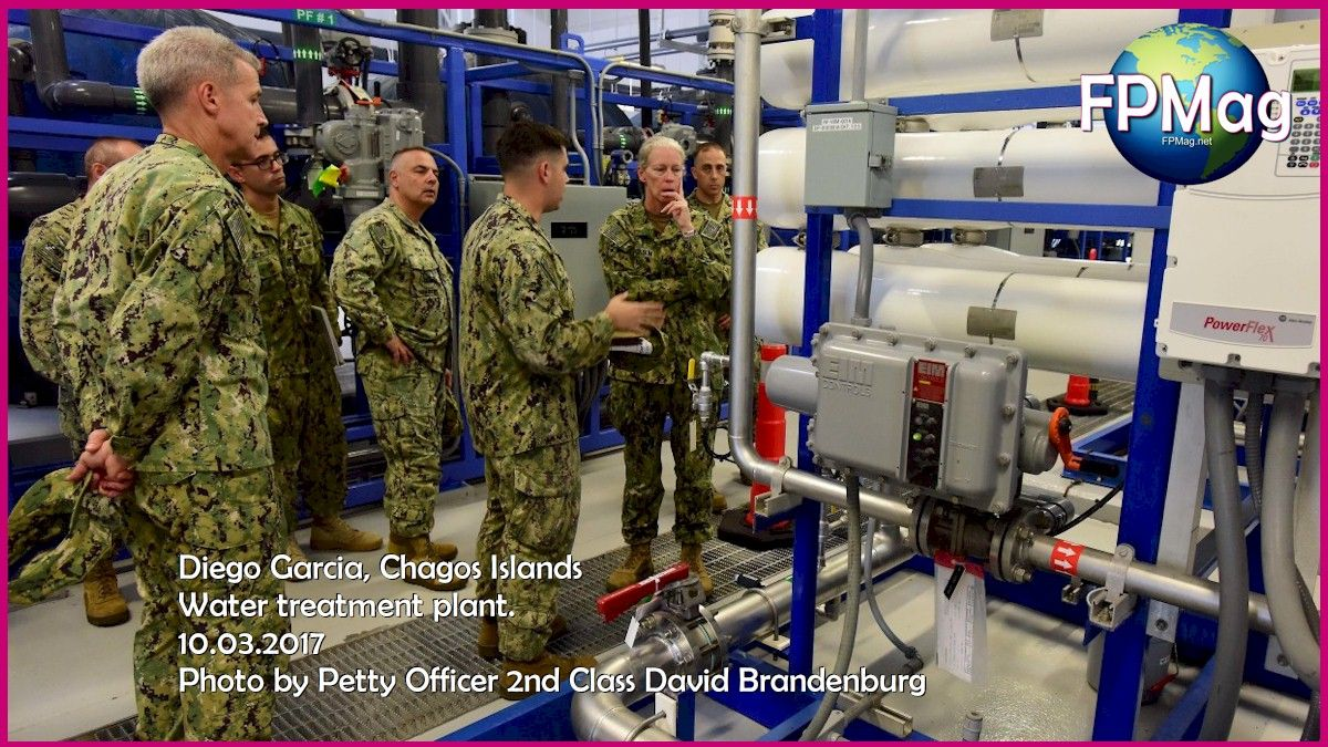 DIEGO GARCIA, British Indian Ocean Territory (Oct. 2, 2017) – Vice Adm. Mary Jackson, Commander Navy Installations Command, is shown the Nano drain system in the water treatment plant by Lt Cory Devonis during an assessment of the U.S. Navy Facility (NSF) Diego Garcia. NSF Diego Garcia provides logistic, service, recreational and administrative support to U.S. and Allied Forces forward deployed to the Indian Ocean and Arabian Gulf. (U.S. Navy photo by Mass Communication Specialist 2nd Class David A. Brandenburg/Released)