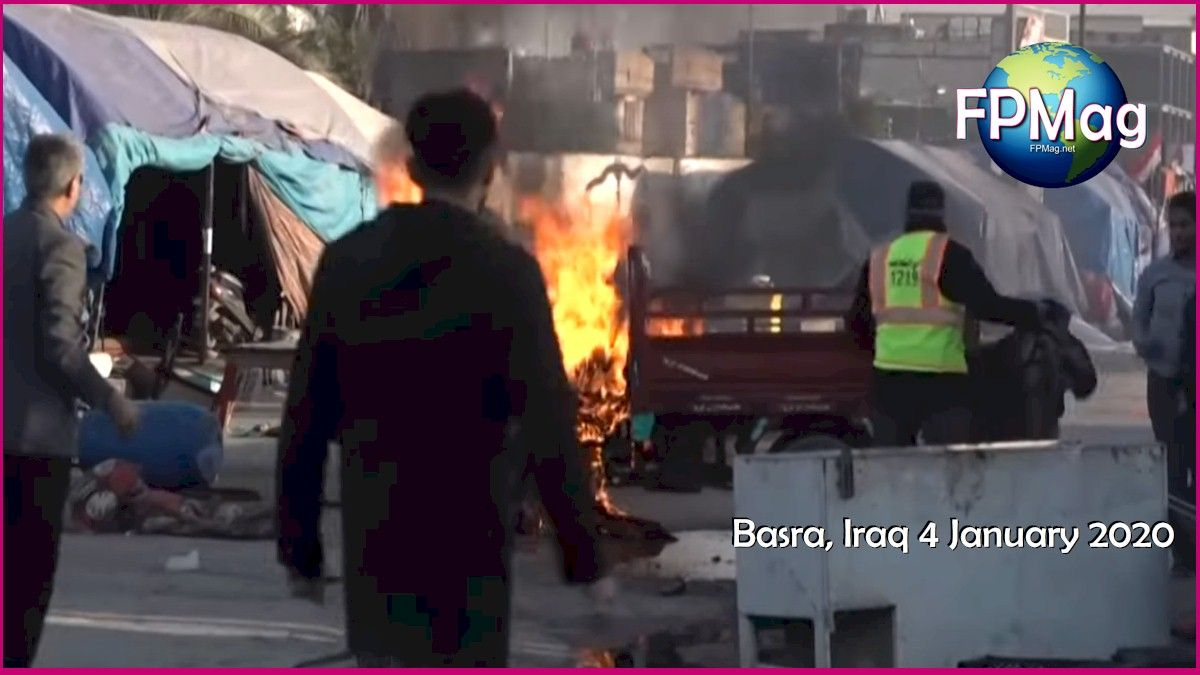 Protests across all of Iraq condemn the US violation of Iraq soverignty on 3 January when the United States launched an attack at the Baghdad airport and killed a dozen officials.