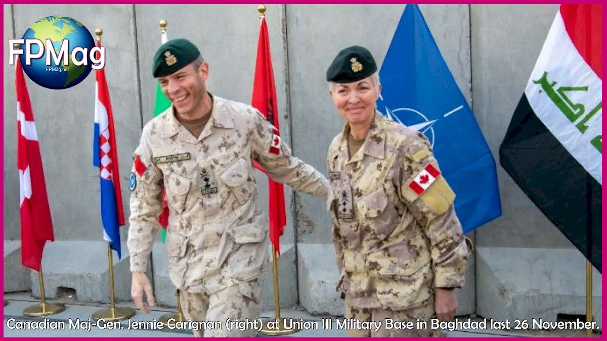 Canadian Major-General Dany Fortin handed over command of the NATO Mission in Iraq to fellow Canadian Maj-Gen. Jennie Carignan at a transfer ceremony held at Union III Military Base in Baghdad on Nov. 26. (NATO)
