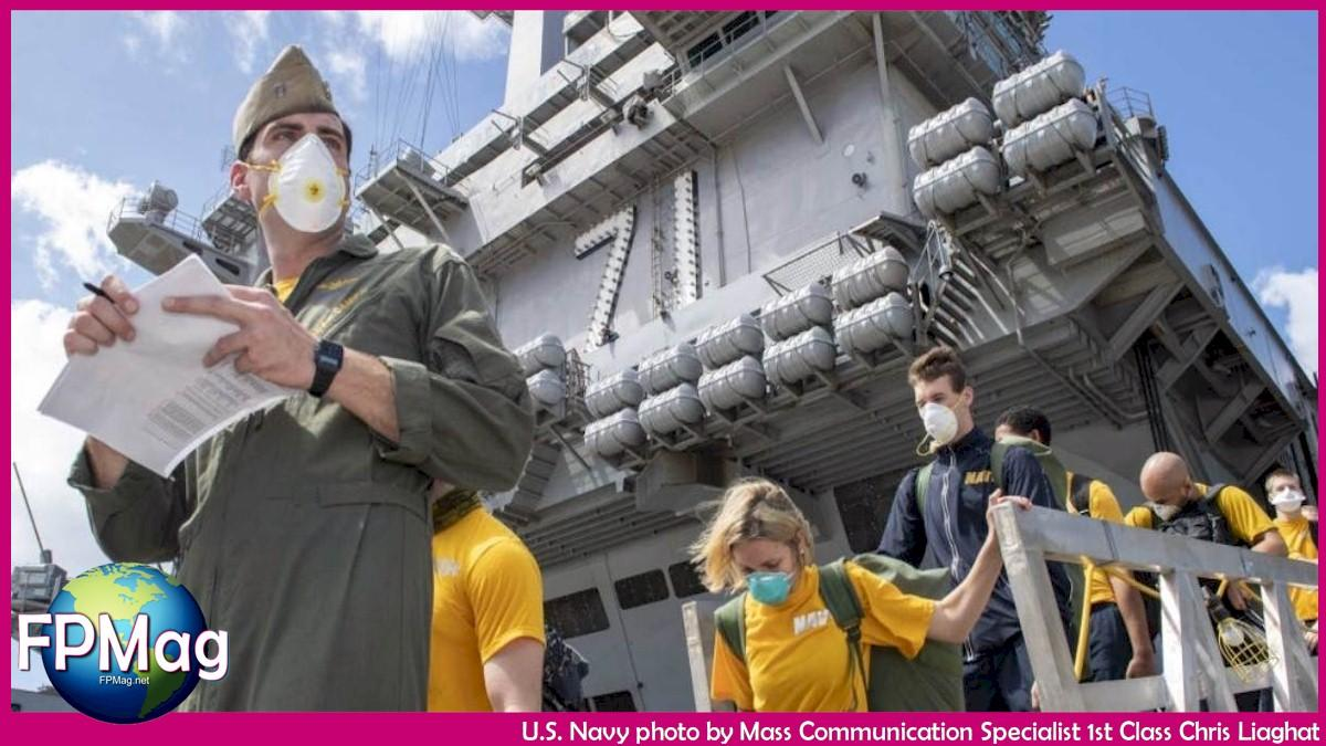 USS Theodore Roosevelt (CVN 71) depart the ship to move to off-ship berthing April 10, 2020 U.S. Navy photo by Mass Communication Specialist 1st Class Chris Liaghat
